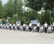 Тақдими 20 адад скутер ба Баталиёни хизмати дидбонию пайраҳадории милитсияи шаҳри Душанбе